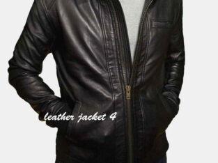 Stylish slim fit men leather jacket